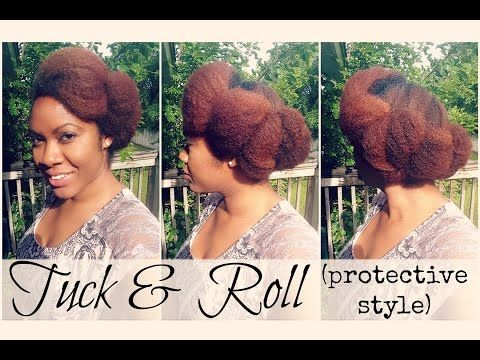 Naturally Michy | Roll & Tuck Protective Hairstyle on Natural Hair - YouTube