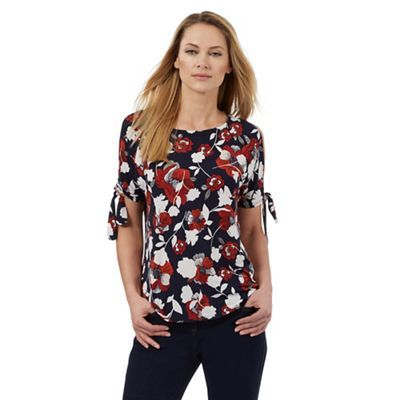 The Collection Navy and red floral print cold shoulder top | Debenhams