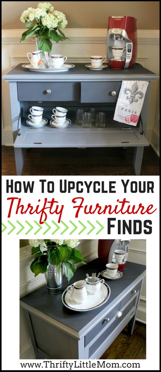 How to Upcycle Your Thrifty Furniture Finds!  Turn a tv stand into a coffee or tea bar or just take an old piece of furniture and jazz it up in this simple to follow furniture painting tutorial. #ad #CORTClearance