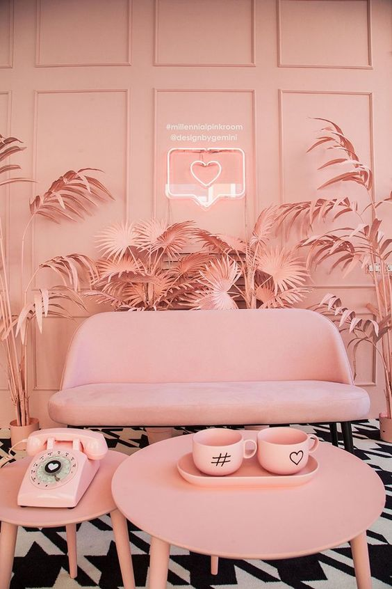 designbygemini paints palm trees in millennial pink at milan design week