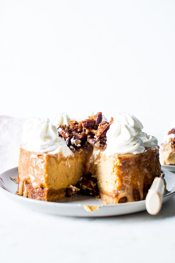 Pecan And Salt Caramel Cheesecake Recipe — Dishmaps