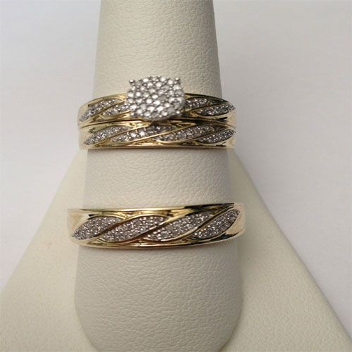 0 50ct His Her Men Womens Diamond Rings Set Wedding Bridal Band