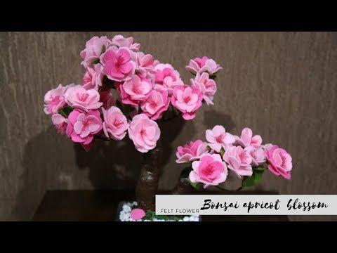 Cara Membuat Bunga Bonsai Dari Kain Flanel How To Make Felt Apricot Blossom Flower Tutorial Yout Felt Flower Tutorial Ribbon Flower Tutorial Felt Flowers
