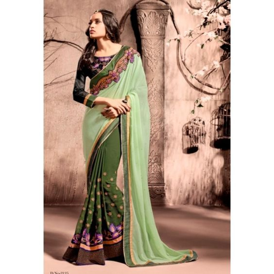 Party Wear Georgette Green Saree - 2125