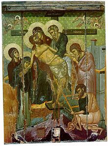 Descent AgiaMarina14th century Byzantine Icon of the Descent from the Cross from the Church of Saint Marina in Kalopanagiotis, Cyprus. St. Joseph of Arimathea is the figure standing in the center, in blue-green robes holding the Body of Christ.