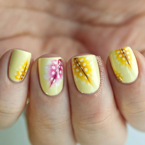 "paulinaspassions: "" Feather water decals from the Born Pretty Store. The water decals I used are from the Born Pretty Store and you can find the direct link to them HERE. I made a combination of yellow and pink feathers to match my pastel yellow..."