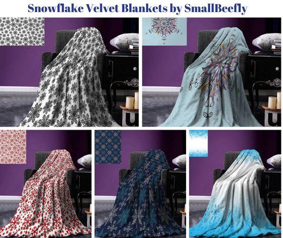 Snowflake Velvet Throw Blankets by SmallBeefly