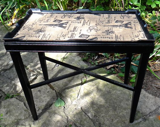 Wood End Table Hand Painted Table Burlap Fabric by CasaKarmaDecor, $135.00