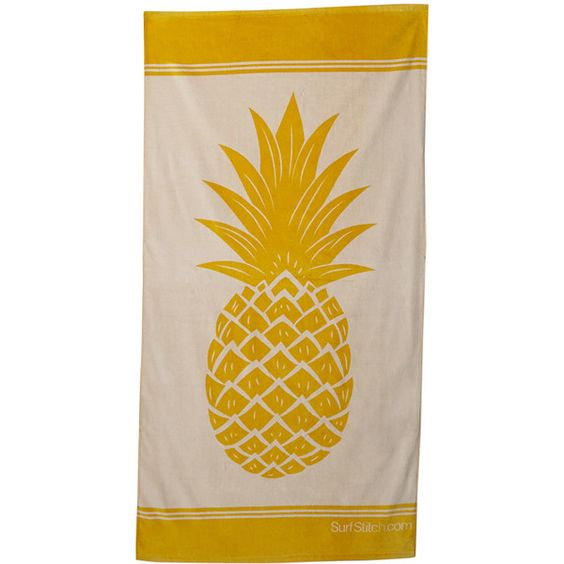 Surfstitch Pineapple Towel ($19) ❤ liked on Polyvore featuring home, bed & bath, bath, beach towels, yellow, plush beach towels, cotton beach towel and yellow beach towel