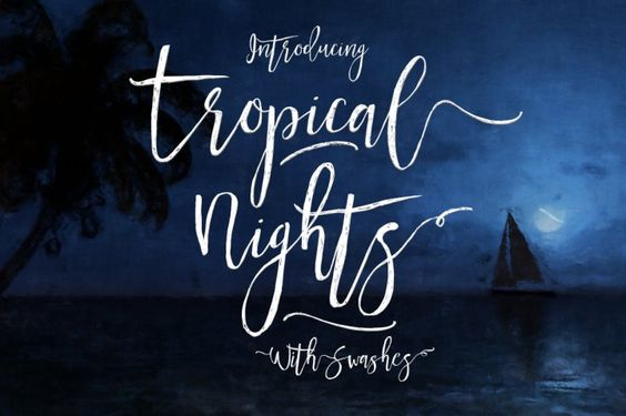 Introducing the latest and greatest font from Creativeqube - Tropical Nights script font
