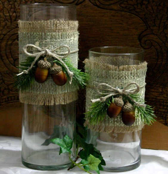 Outdoor burlap wedding centerpiece could also use the
