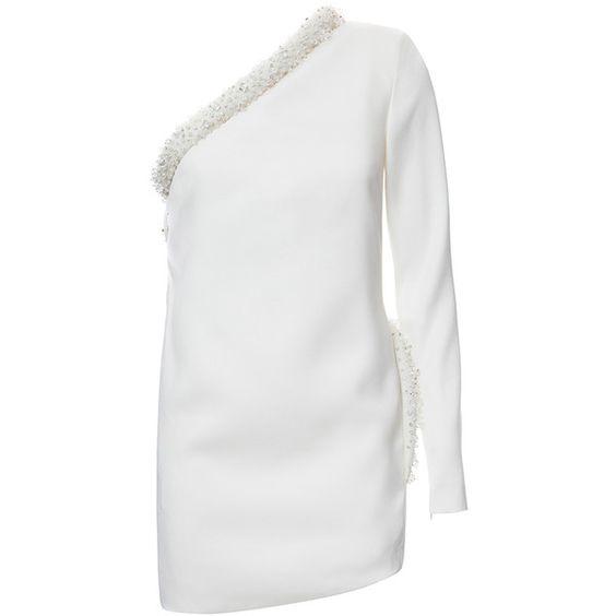 one shoulder mini dress white