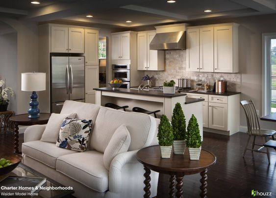 beautiful open kitchen and living room area love the feel of the open rooms leading beautiful open living room