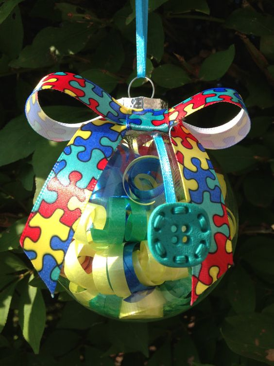 Handmade autism awareness christmas ornament autism for Craft ideas for autistic students
