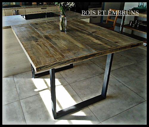 Table Haute Table De Cuisine Mange Debout En Bois Recycle Et