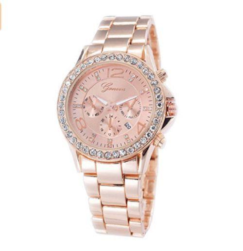 Geneva Designer Datum Strass Damenuhr Rosegold Uhr Chronograph Optik Rose Rot