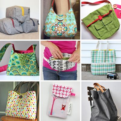9 free patterns for bags and purses.