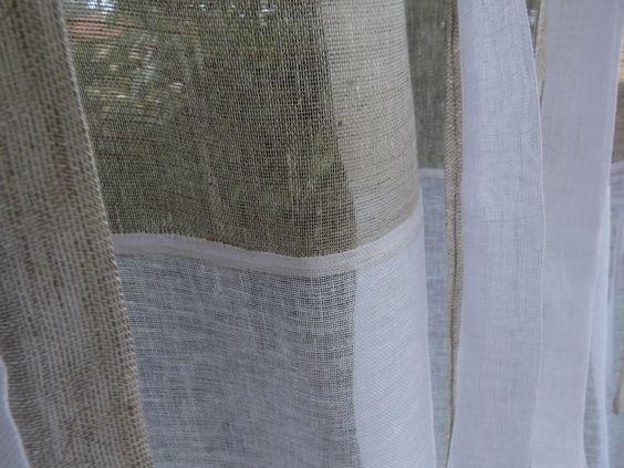 Rideau Agathe en lin blanc et beige Un rideau 2 tons confectionné ...