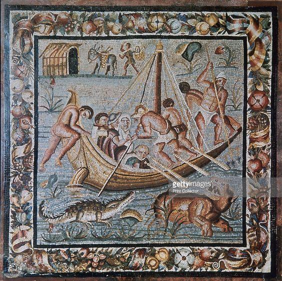 Римска мозайка на ферибот в Нил от Помпей, 2-ри век: