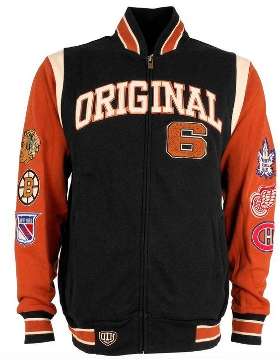 NHL Original 6 Funton Full Zip Collard Fleece Track Jacket