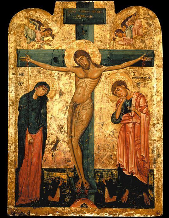 crocifisso preziosi bizantini - Crocifissione - icona, tempera su tavola, XIII secolo - Napoli, San Domenico MaggioreCerca con Google: