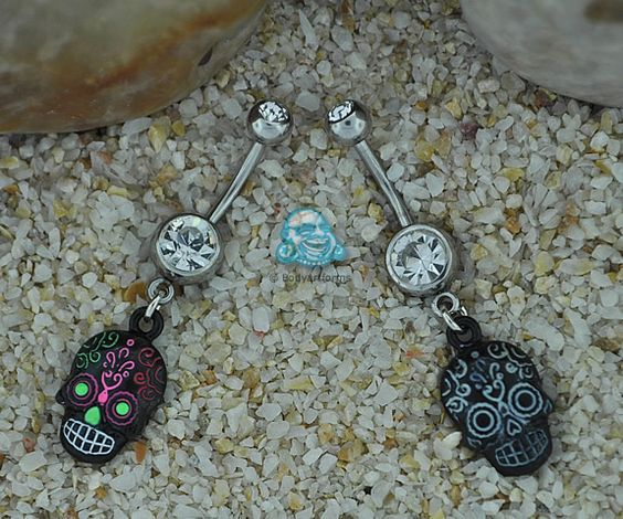 day of the dead belly button rings