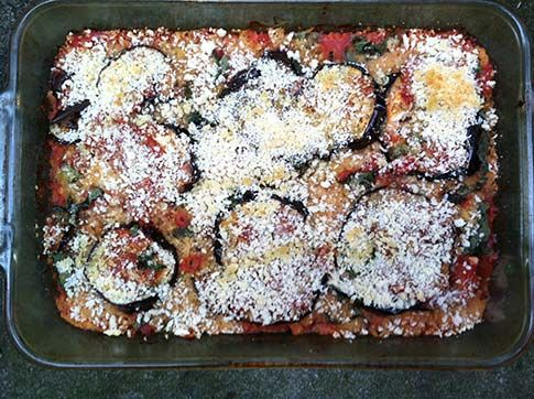 Eggplant Un-Parmesan - Mark Bittman Try using zucchini or portobello mushrooms as variations, or serve the vegetables and tomato sauce over polenta or a more substantial meal.