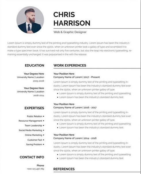 Free Professional Resume Template In Word Format Cv Resume