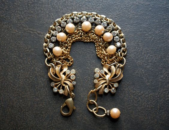 Awesome Etsy listing at https://www.etsy.com/pt/listing/216823247/gold-multi-strand-assemblage-bracelet