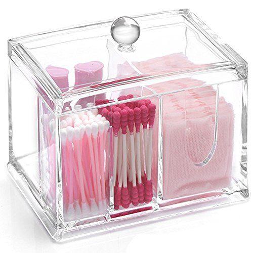 Transparent Acrylic Cotton Swabs Ball Qtips Cosmetic Makeup Organizer Box Clear Acrylic 4 Stoa Hanging Makeup Organizer Makeup Organization Makeup Storage Box