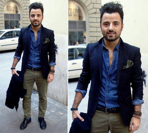 Zara Navy Blazer, Zara Denim Shirt, Zara Chino Pants, Zara Vintage ...