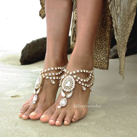 Ladies jewelled gold barefoot sandals. Wedding by ForeverSoles,$117.54  Don't know how I feel about these, maybe at a casual reception or pre-wedding religious ceremony