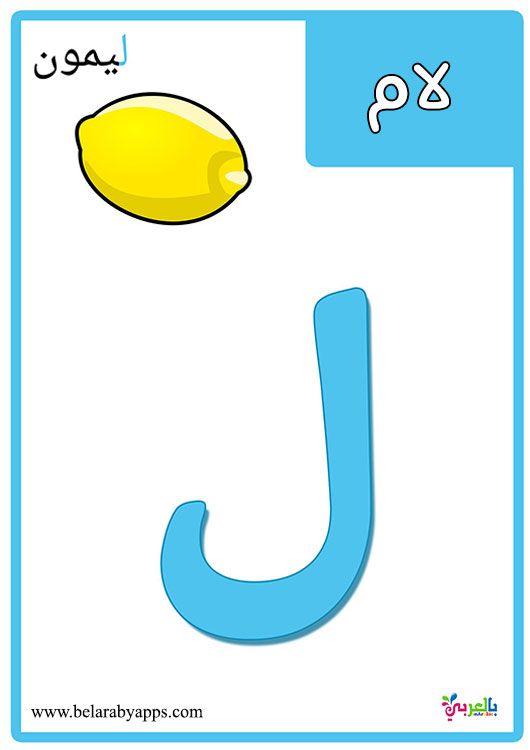 بطاقات الحروف العربية مع الصور للاطفال تعليم اطفال الحروف الهجائية مع الكلمات بالعربي نتعلم Alphabet For Kids Education Arabic Alphabet