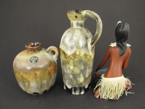 Vintage Keramik-Set (zwei Vasen) / Ruscha (art) / Modell 321 und 384 | West German Pottery | 60er von ShabbRockRepublic auf Etsy
