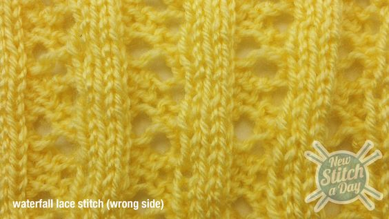 Example of the Waterfall Lace Stitch WS