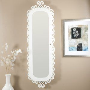 Belham Living Wall Scroll Locking Jewelry Armoire - High Gloss White - 16.5W x 50H in.
