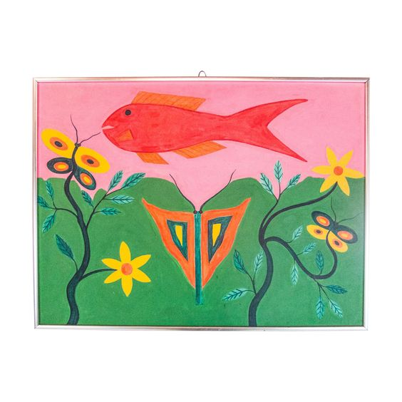 1970s Acrylic Abdias Nascimento on Canvas