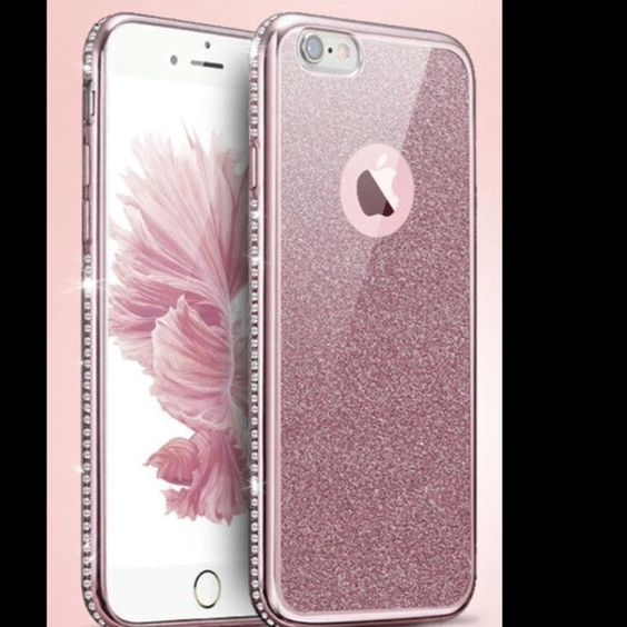 Bling Glitter Silicone Case Cover Luxury Diamond Bling Glitter Silicone Case Cover for Apple iPhone 6plus.  Can be used with the glitter or as a see-through bling case. Color- Rose gold Accessories Phone Cases