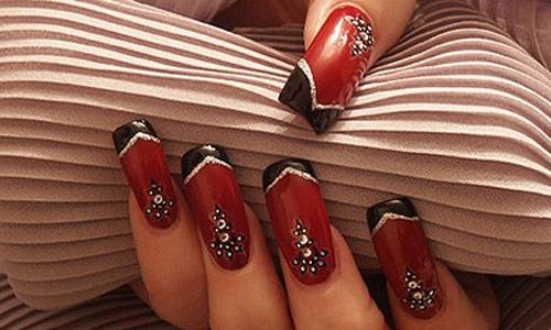 Red, Black, Silver Nail Art