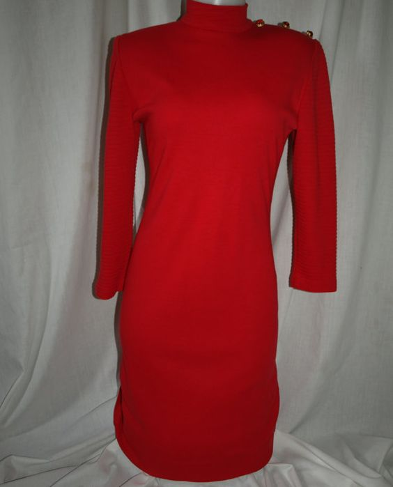 Stunning Chinese Classic Red Knit Vintage Dress  by RosesandRags, $30.00