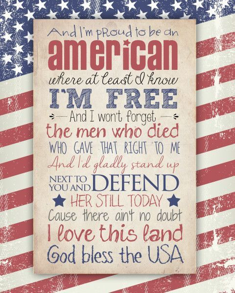 God Bless the USA Free Printable (two different versions available). Great for Memorial Day or 4th of July!: