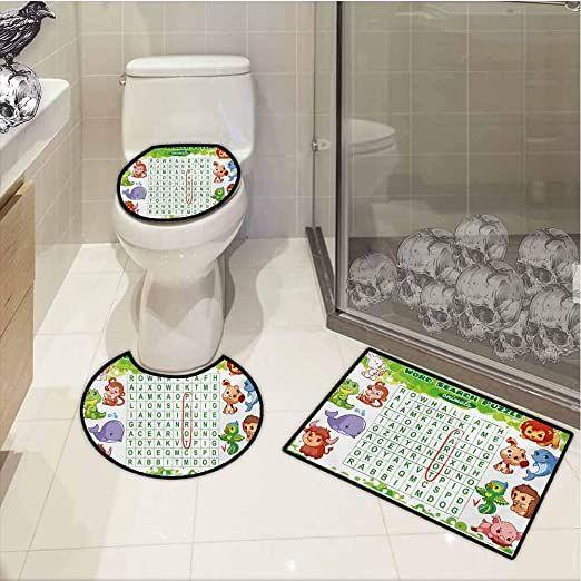 Fbdace 3 Piece Bath Mat Set Word Search Puzzle Educational Game For Kids Children Cute Sweet Animals Workshee In 2020 Bath Mat Sets Elegant Bath Rugs Bathroom Rug Sets