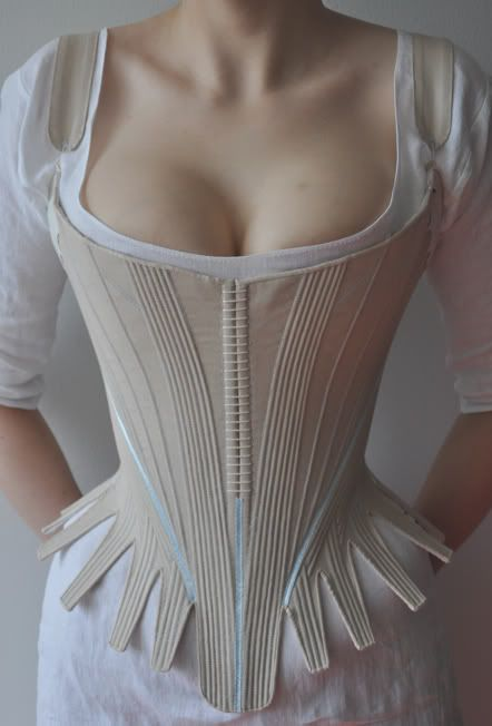 As far as I can tell, these are the most historically accurate, well-fitted reproduction undergarments that I have ever seen.  Clearly, this woman is a genius.  And a perfectionist.  Emphasis on the genius.  Before the Automobile: 1780's stays