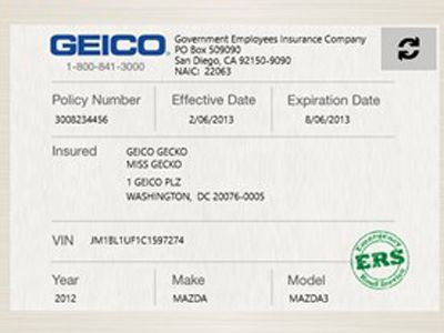 Proof Of Auto Insurance Template Free With Images Geico Car