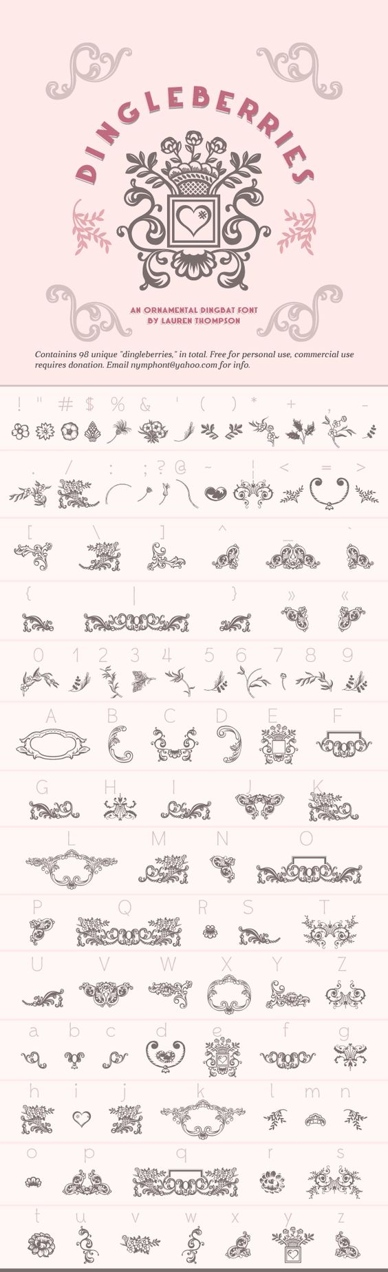 Gorgeous Dingbat Font - Dingleberries by Lauren Thompson free for personal use.