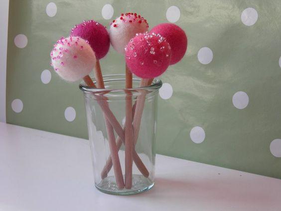 5er Set *pinki*, Cake-Pop-Deko, Cake-Pop von kleiner-holzladen auf DaWanda.com