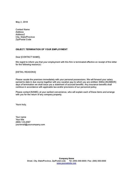 Employee Dismissal Letter Lettering Templates Letter Sample