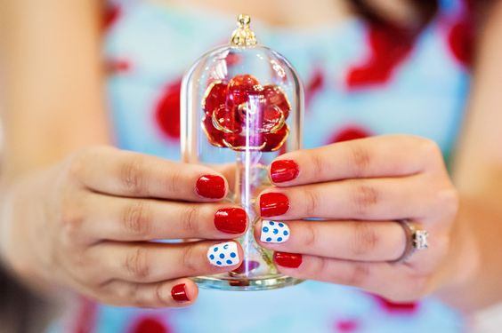 Consider sporting a fun statement #nail for your #engagement photos #polkadots