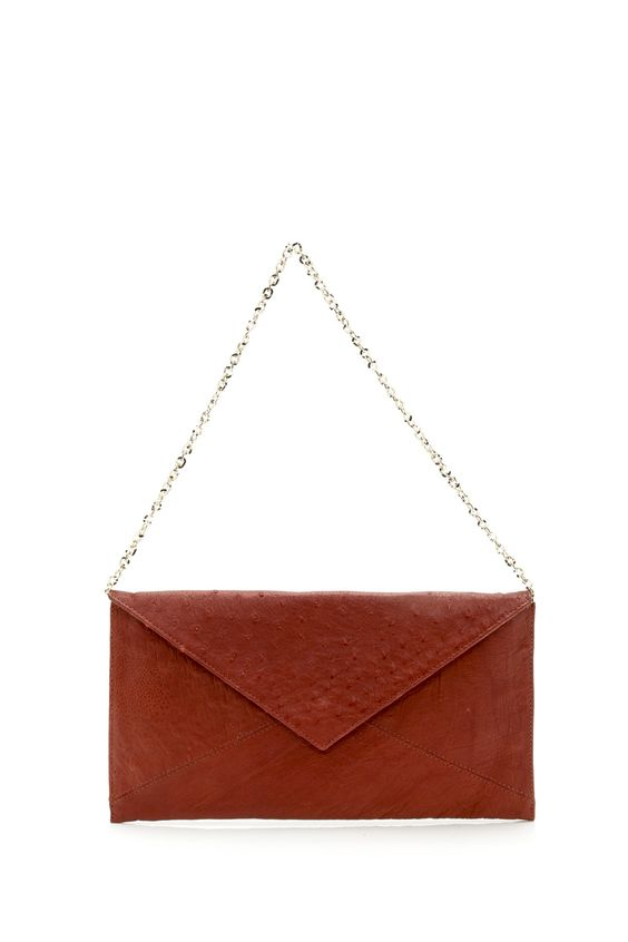"""Irresistible soft genuine ostrich clutch bag handcrafted in Cranberry Red color. Gold tone hardware and flap magnetic closure with a detachable chain. Interior features beige lining with 1 zip pocket and 1 pocket. Protective Dust bag included for added care. Measures 11"""" 1/4 W x 6"""" H X 1/2""""D   Ostrich Cranberry Clutch by IRRERA. Bags - Clutches Bags - Shoulder & Hobo Florida"""