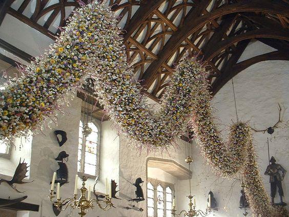 "intimesgonebyblog: "" Christmas garland in the great hall, Cotehele, Cornwall, England. X """